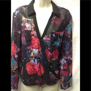 Women's size Medium NICOLE floral sheer blouse
